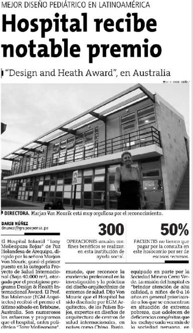 Article in Peruvian newspaper 'El Correo'Articulo en el CorreoArtikel in het Peruaanse dagblad 'El Correo'