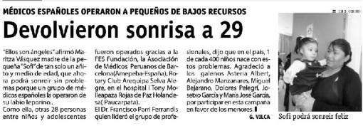 'Devolvieron sonrisa a 29' in El Correo 9.8.2013'Devolvieron sonrisa a 29' in El Correo 9.8.2013'Devolvieron sonrisa a 29' in El Correo 9.8.2013