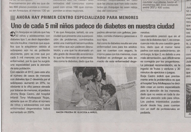 In the Peruvian press about the opening of our Children Diabetic CenterEn la prensa sobre nuestro Centro de Diabetes para ninos y adolecentesIn de Peruaanse pers over de opening van ons diabetes centrum voor kinderen en tieners
